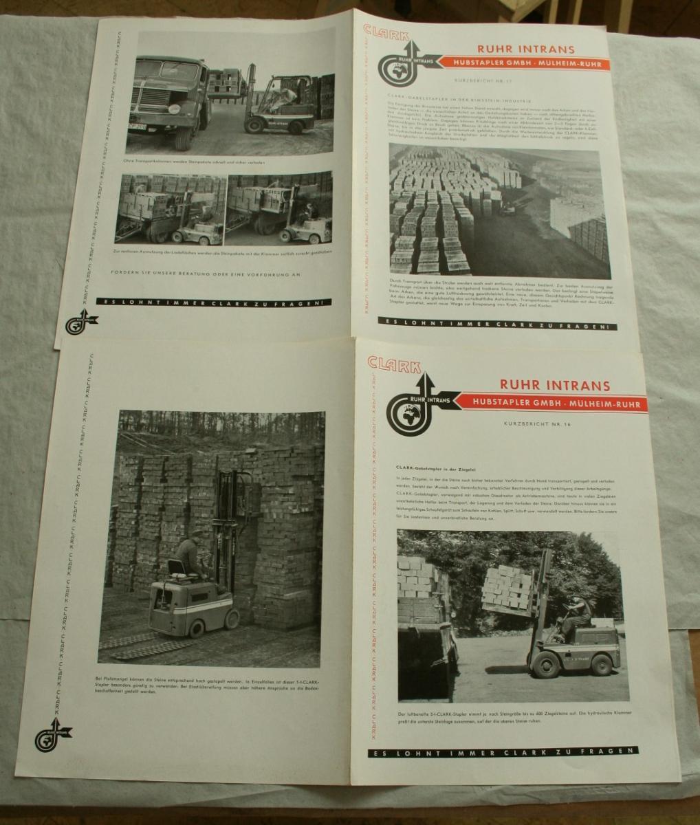 Clark Ruhr Intrans Hubstapler 2 Broschüren Ziegelei Gabelstapler