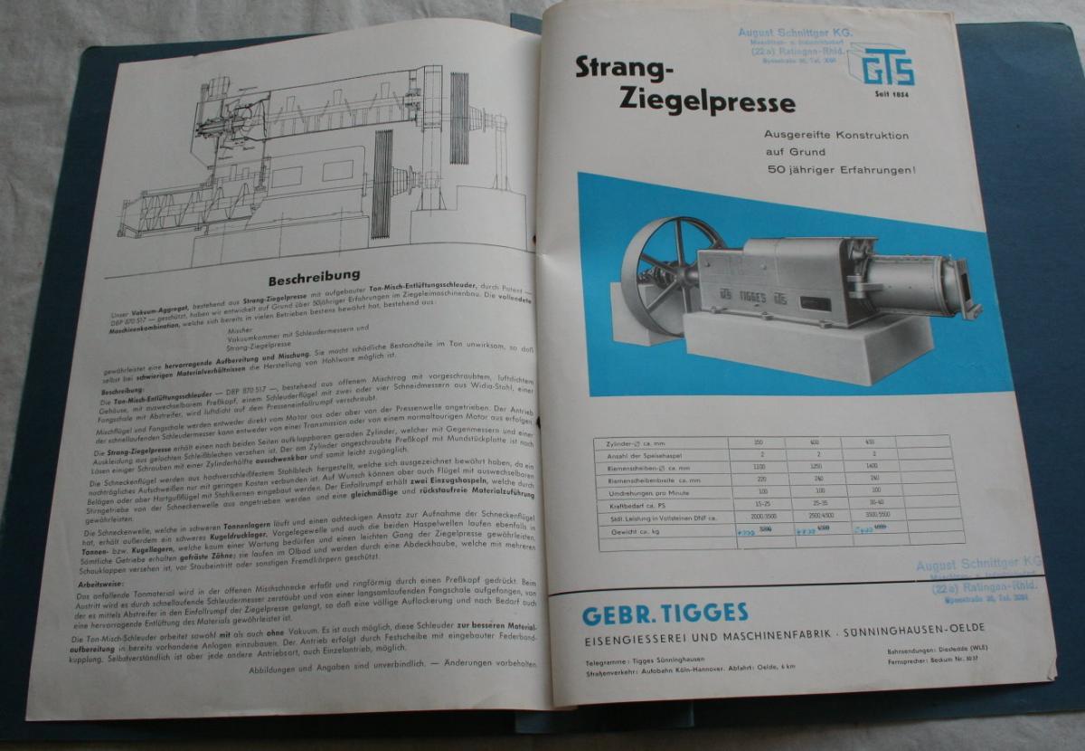 GTS Tigges Maschinenfabrik Ziegelei Ziegeleimaschinen Mappe Reklame