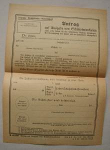 Antrag auf Schülerferienkarten Deutsche Reichsbahn 20/30 Jahre Schülerfahrkarte