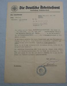 Die Deutsche Arbeitsfront Gauwaltung Westfalen Nord Der Gauobmann Schreiben 1938