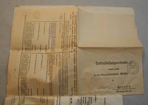Postzustellungsurkunde Herford Pfändungs-und Überweisungsbeschluß 1937 3.Reich