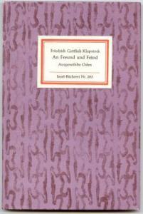 An Freund und Feind. Ausgewählte Oden. Klopstock, Friedrich Gottlieb