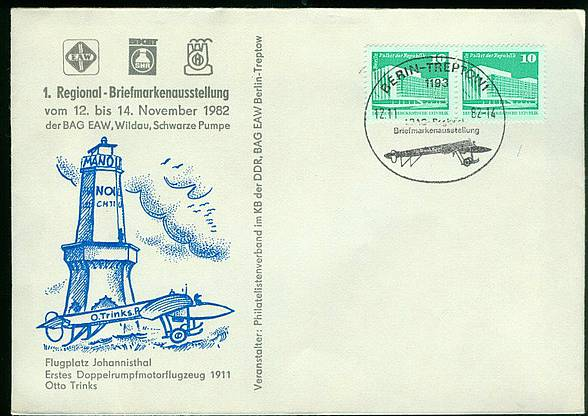 Brief DDR SoSt. 1. Regional-Briefmarkenausstellung Berlin-Treptow / 12.11.1982 K1-1760
