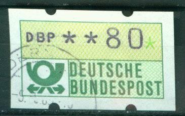 BRD Automatenmarke 1 Wertstufe 80 Pfennig gest. K1- 3810