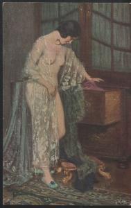 Vintage woman, painting