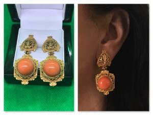 ***Traumhafte*** antike Ohrringe in 750 Gold mit Edelkoralle