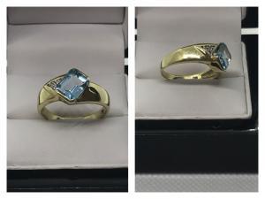 Massiver schöner Blautopas & Diamantring in 585 Gold