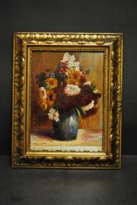 Bleeker H. - Feldblumenstrauß in blauer Vase - ca. 1900