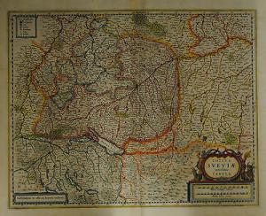 Schwaben - Kolorierte Kupferstichkarte  von Janssonius - 1640