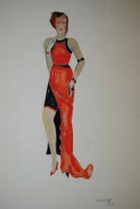 Garloff – 4 Modeentwürfe im Art-Déco-Stil – Kolorierte Zeichnungen - 1930