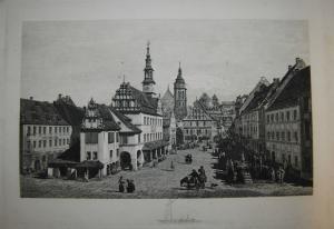 Schulz - Der Marktplatz zu Pirna - Radierung um 1890