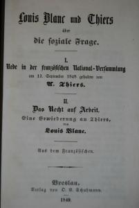 Louis Blanc und Thiers über die soziale Frage – Breslau 1849