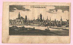 """Njimegen - Kupferstich von Riegel – aus """"der Rheinstrom"""" - um 1690"""