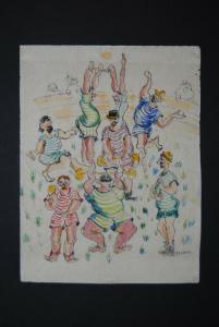 Aquarellierte Federzeichnung - Aquarellierte Federzeichnung - ca. 1955