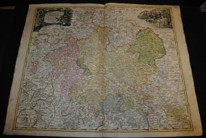 Landgraviatus Hassiae Inferioris – Altkolorierte Kupferkarte – Homann 1720