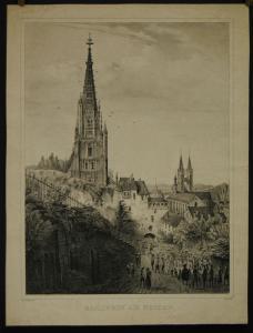 Esslingen – Ansicht – Lithographie von Siebers nach Quaglio – Ca. 1820