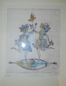 Bachem, Bele – Winterblumen – Kolorierte Radierung - Signiert
