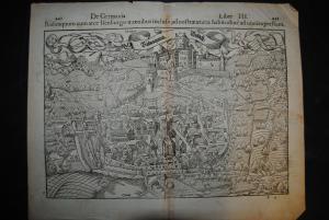Holzschnittansicht - Rufach - Rubequum cum arce Isenburgo - um 1580