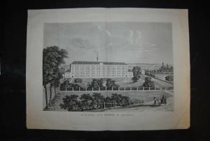Spinnerei und Weberei in Augsburg - Radierung in Aquatintamanier - Um 1830