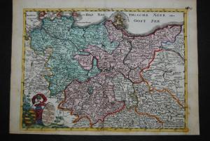 Baeck, Elias – Sachsen – Altkolorierte Kupferkarte - 1710