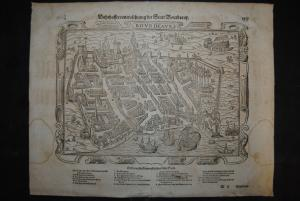 Holzschnitt - Warhaffte contrafehtung der Statt Bourdeaux - ca. 1580