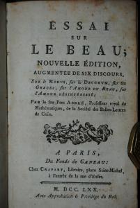 André - Essai sur le beau - Paris 1770