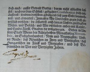 Leopold I. - Gedrucktes Mandat mit eigenhändiger Unterschrift des Kaisers - 1699