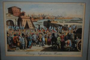 Einzug Napoleons in Moskau – Kolorierte Radierung – Wien um 1820
