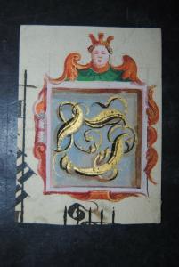 Aquarell auf Papier - goldgehöht - Initiale D - um 1700