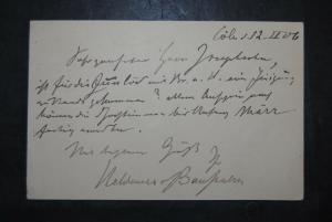 Baussnern - Komponist u. Dirigent - Eigenh. Postkarte mit Unterschrift - 1906