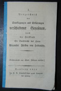 Alexander v. Hohenlohe – 8 Wunderheilungen – Bamberg 1821