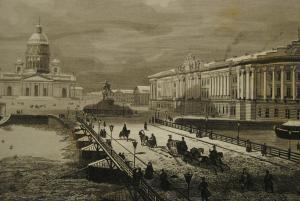 St. Petersburg – Ansicht der St. Isaaks-Kathedrale 1850 - Stahlstich