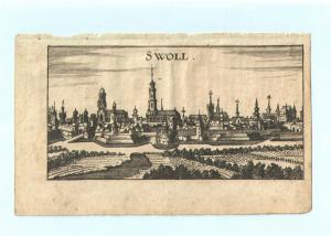 """Zwolle - Kupferstich von Riegel – aus """"der Rheinstrom"""" - um 1690"""