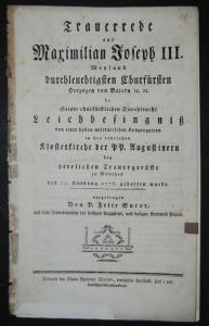 Sutor – Trauerrede für Maximilian Joseph III., Kurfürst von Bayern - 1778