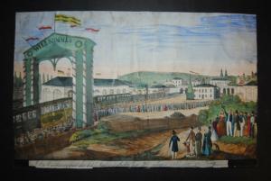 Prag - Eröffnung der Eisenbahn 1845 - Altkolorierte Lithographie