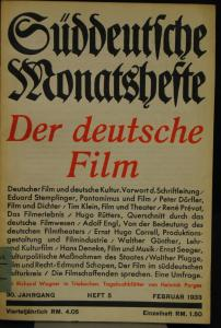 Der deutsche Film – In: Süddeutsche Monatshefte - 1933