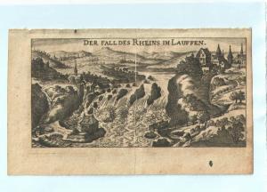 """Rheinfall bei Schaffhausen - Kupferstich von Riegel – aus """"der Rheinstrom"""" 1690"""