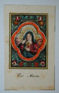 Herz Mariä – Altkolorierter Kupferstich – Um 1810