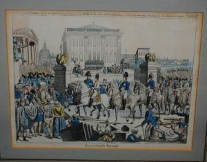 Napoleon - Einzug der Verbündeten in Paris - Altkolor. Radierung - Um 1816