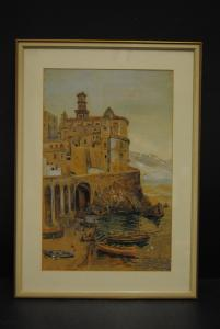 Aquarell über Bleistift - Atrani - 1885