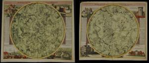 Doppelmayr – Sternenkarten der beiden Hemisphären – 2 altkolor. Himmelskarten -
