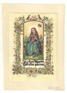Ave Maria gratia plena - Aquarellierte Federzeichnung, goldgehöht – Um 1960