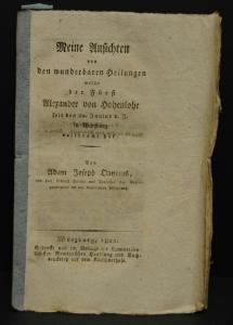 Onymus – Wunderbare Heilungen des Alexander von Hohenlohe 1821