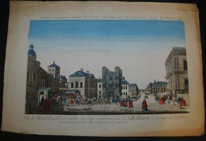 London  Vue de l'Hotel Royale d. Gardes du Corps.. altkolorierter Kupferst. 1780