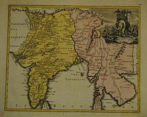 Indien – Altkolorierte Karte von Weigel – Um 1720