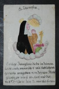 Hl. Theresia – Altkolorierter Stahlstich – um 1830