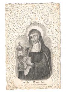 Hl. Klara - Gestanztes Spitzenbild mit Stahlstich - ca. 1875