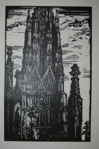 Lang - Holzschnitt - Turm von St. Stephan in Wien - 1932