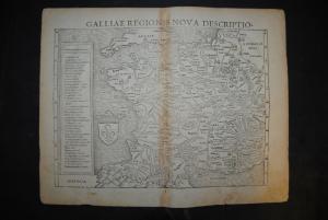 Holzschnittkarte - Galliae regionis nova descriptio - um 1580