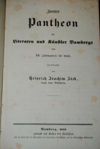 Jäck - Zweites Pantheon der Literaten und Künstler Bambergs - 1843